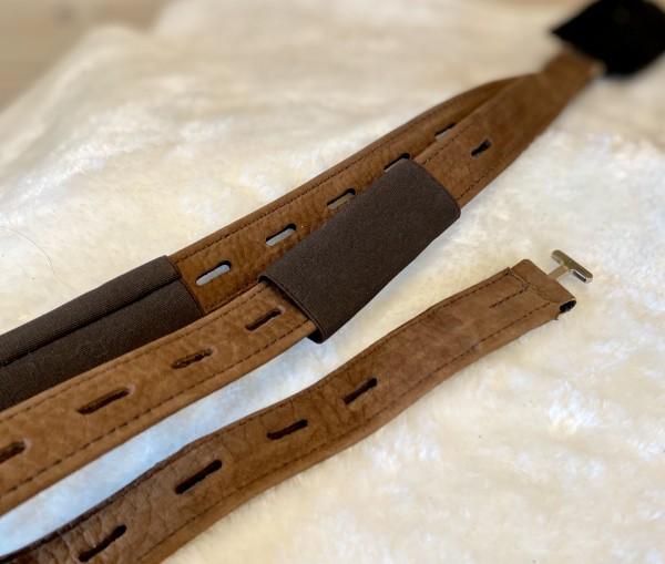 Freeform Steigbügelriemen schmal - braunes Nubuk 80 cm